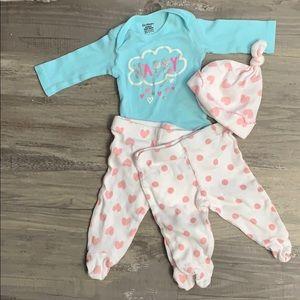 Baby girl outfit set polka dots hearts newborn